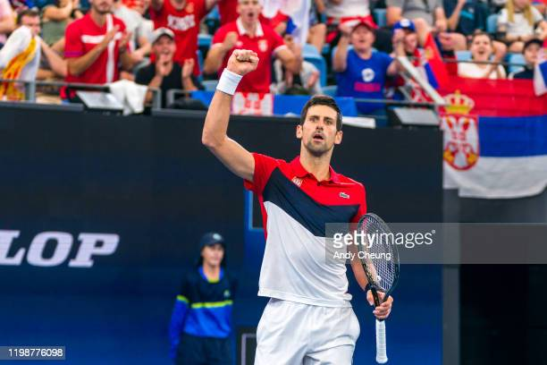 Novak Djokovic of Serbia celebrates winning a break point during his semifinal singles match against Daniil Medvedev of Russia during day nine of the...