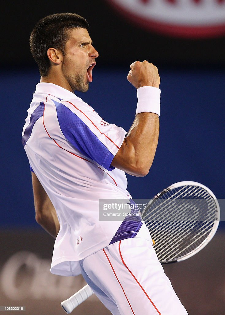 Novak Djokovic of Serbia celebrates winning a break point in his quarterfinal match against Tomas Berdych of the Czech Republic during day nine of the 2011 Australian Open at Melbourne Park on January 25, 2011 in Melbourne, Australia.