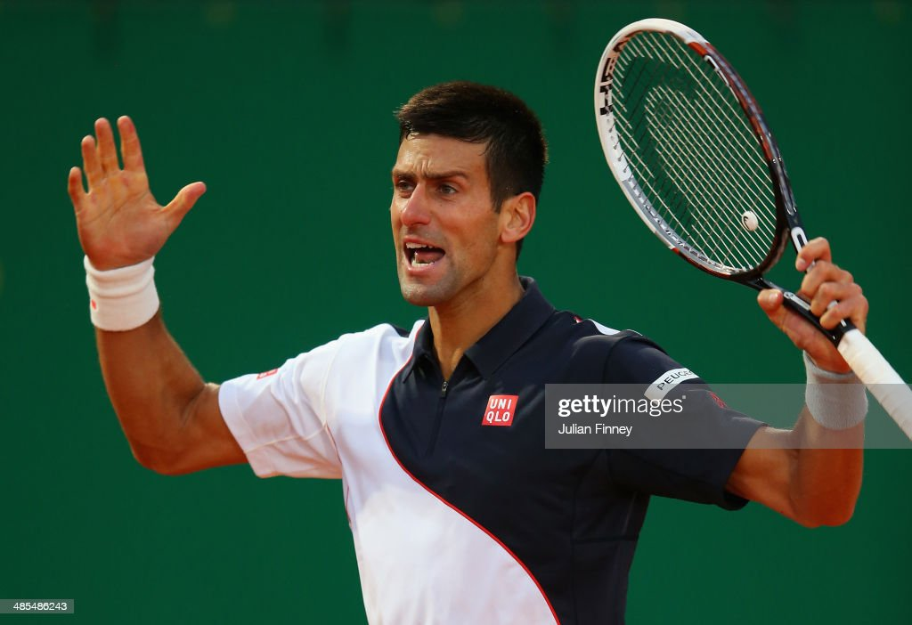 Novak Djokovic of Serbia celebrates winning a point against Guillermo Garcia-Lopez of Spain during day six of the ATP Monte Carlo Rolex Masters Tennis at Monte-Carlo Sporting Club on April 18, 2014 in Monte-Carlo, Monaco.