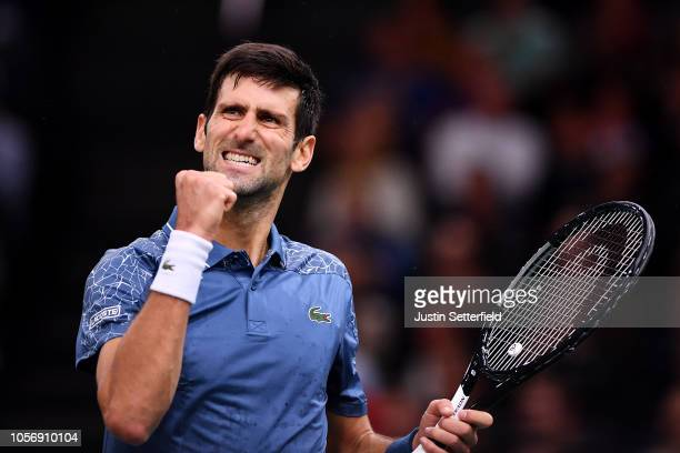 Novak Djokovic of Serbia celebrates winning a point during his Semi Final match against Roger Federer of Switzerland on Day 6 of the Rolex Paris...