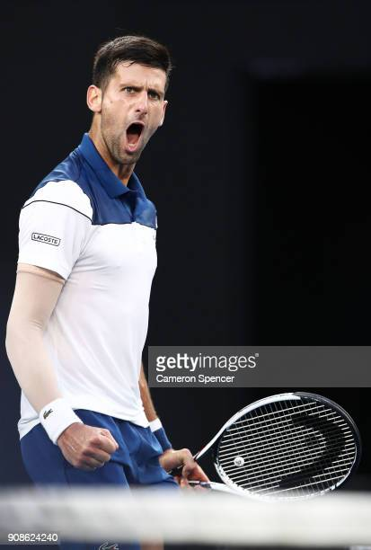 Novak Djokovic of Serbia celebrates winning a point in his fourth round match against Hyeon Chung of South Korea on day eight of the 2018 Australian...