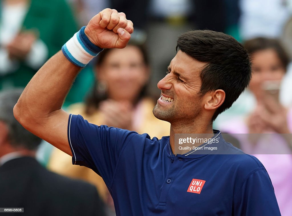 Novak Djokovic of Serbia celebrates winning against Gilles Simon of France during day three of the ATP Monte Carlo Rolex Masters Tennis at Monte-Carlo Sporting Club on April 18, 2017 in Monte-Carlo, Monaco.