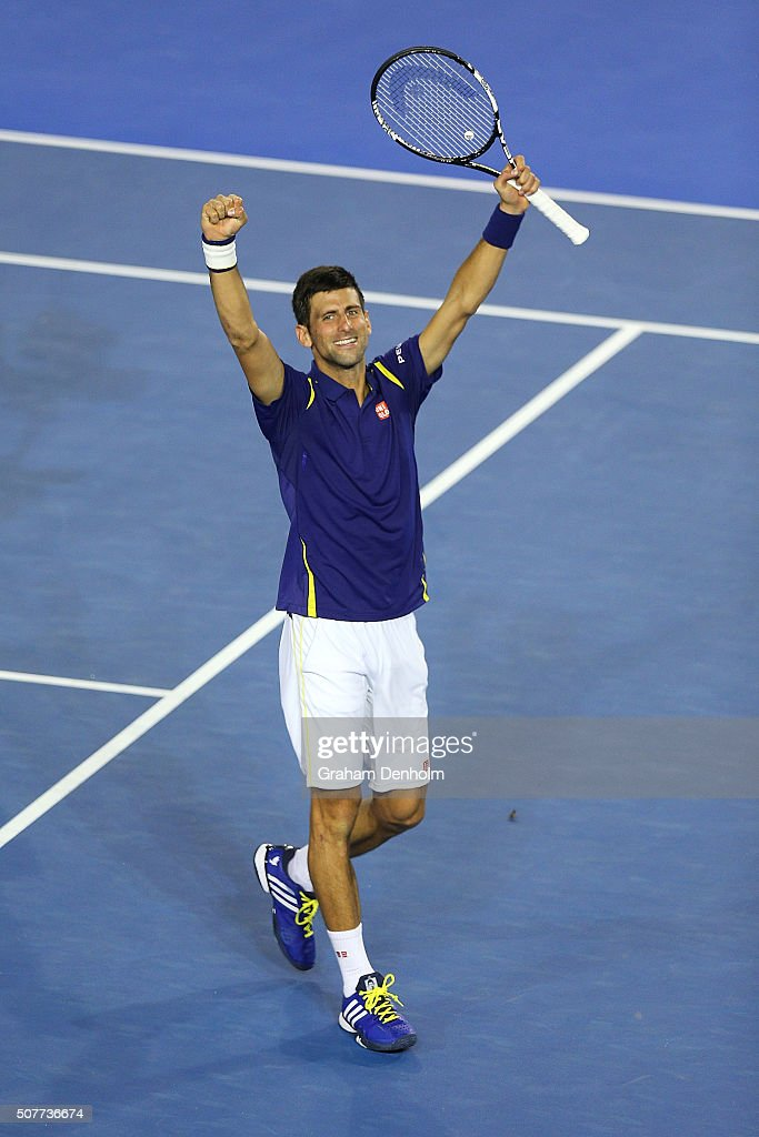 Novak Djokovic of Serbia celebrates winning championship point in the Men's Singles Final match against Andy Murray of Great Britain during day 14 of the 2016 Australian Open at Melbourne Park on January 31, 2016 in Melbourne, Australia.