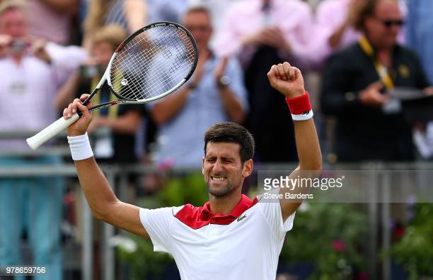 Novak Djokovic of Serbia celebrates winning his match against John Millman of Australia on Day Two of the FeverTree Championships at Queens Club on...