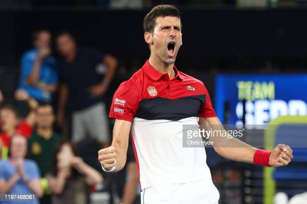 Novak Djokovic of Serbia celebrates winning his match against Kevin Anderson of South Africa during day two of the 2020 ATP Cup Group Stage at Pat...