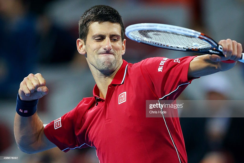 Novak Djokovic of Serbia celebrates winning his match against Tomas Berdych of the Czech Republic during the the Men's Single Final on day nine of the China Open at the China National Tennis Center on October 5, 2014 in Beijing, China.
