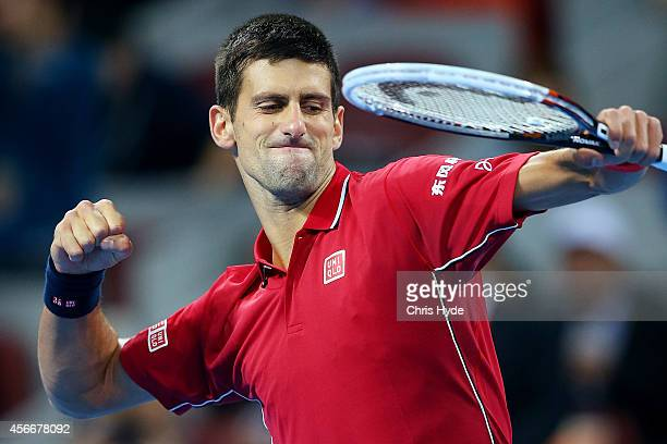 Novak Djokovic of Serbia celebrates winning his match against Tomas Berdych of the Czech Republic during the the Men's Single Final on day nine of...