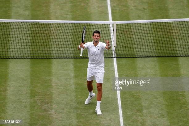 Novak Djokovic of Serbia celebrates winning his men's Singles Final match against Matteo Berrettini of Italy on Day Thirteen of The Championships -...