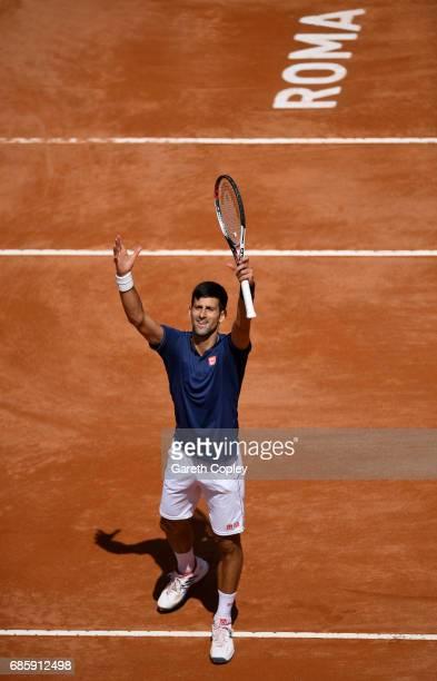 Novak Djokovic of Serbia celebrates winning his quarter final match against Juan Martin Del Potro of Argentina in The Internazionali BNL d'Italia...