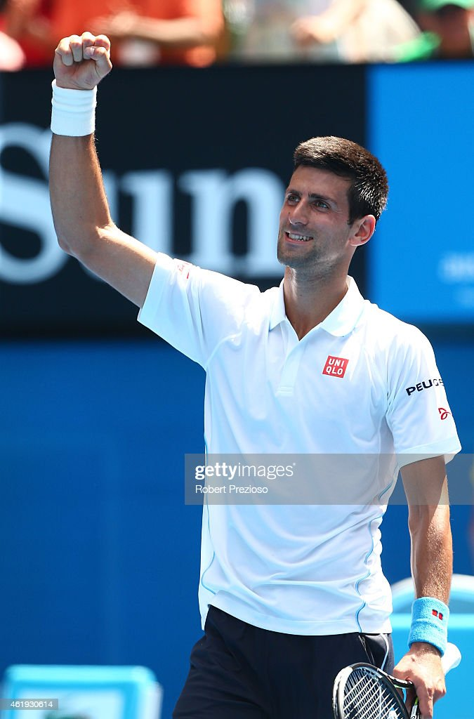 Novak Djokovic of Serbia celebrates winning his second round match against Andrey Kuznetsov of Russia during day four of the 2015 Australian Open at Melbourne Park on January 22, 2015 in Melbourne, Australia.