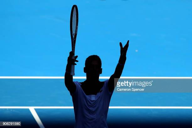 Novak Djokovic of Serbia celebrates winning his second round match against Gael Monfils of France on day four of the 2018 Australian Open at...