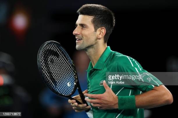 Novak Djokovic of Serbia celebrates winning match point during his Men's Singles first round match against Jan-Lennard Struff of Germany on day one...