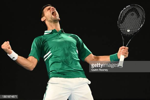 Novak Djokovic of Serbia celebrates winning match point in his Men's Singles third round match against Taylor Fritz of the United States during day...