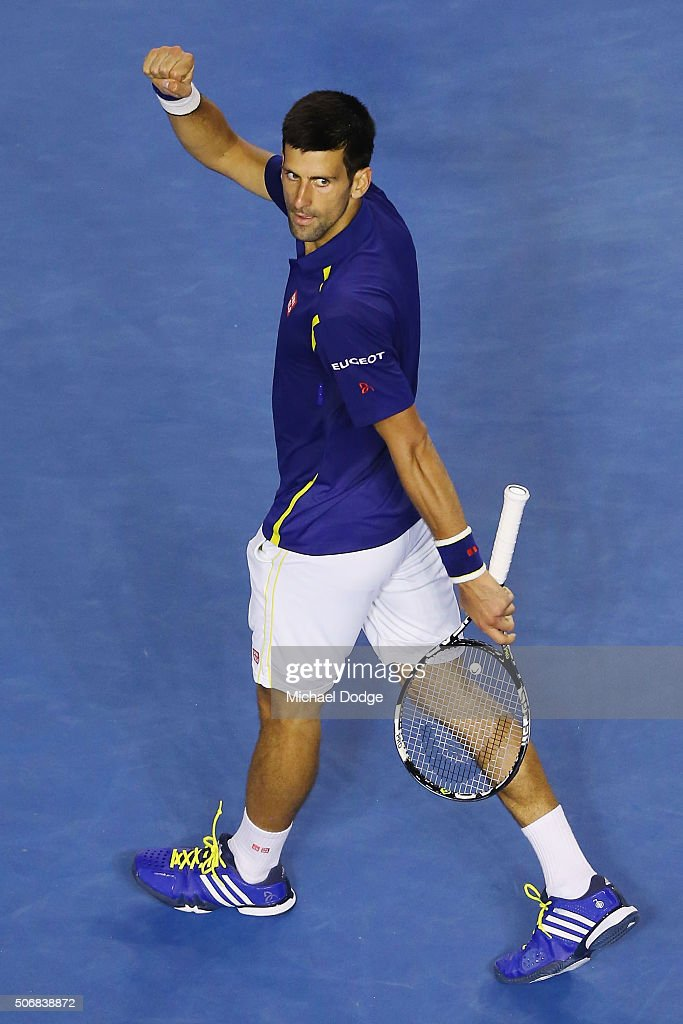 Novak Djokovic of Serbia celebrates winning maytch point in his quarter final match against Kei Nishikori of Japan during day nine of the 2016 Australian Open at Melbourne Park on January 26, 2016 in Melbourne, Australia.