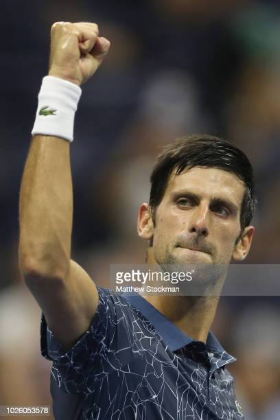 Novak Djokovic of Serbia celebrates winning the match during the men's singles third round match against RIchard Gasquet of France on Day Six of the...