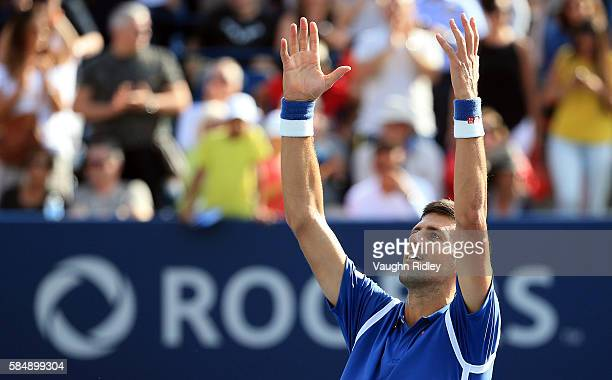 Novak Djokovic of Serbia celebrates winning the Singles Final over Kei Nishikori of Japan during Day 7 of the Rogers Cup at the Aviva Centre on July...