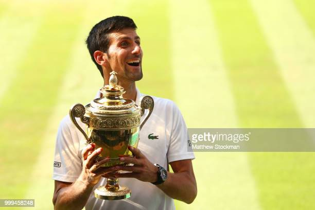 Mens Singles Final Novak Djokovic v Kevin Anderson A general view of match action on Centre Court at All England Lawn Tennis and Croquet Club on July...