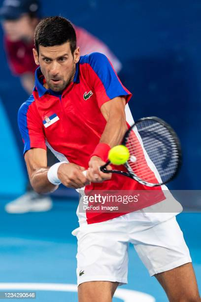 Novak Djokovic of Serbia compete in the Men's Singles Quarterfinal Tennis Match between Serbia and Japan on day six of the Tokyo 2020 Olympic Games...