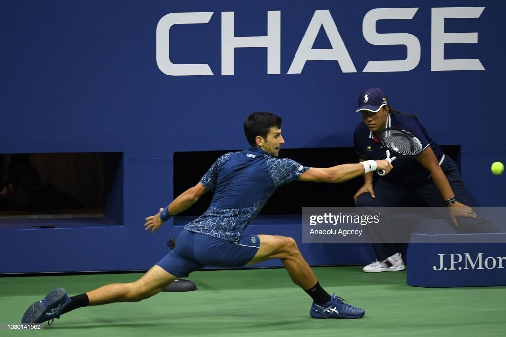 Novak Djokovic of Serbia competes against Juan Martin Del Potro (not seen) of Argentina during US Open 2018 men's final match in New York, United States on September 9, 2018.