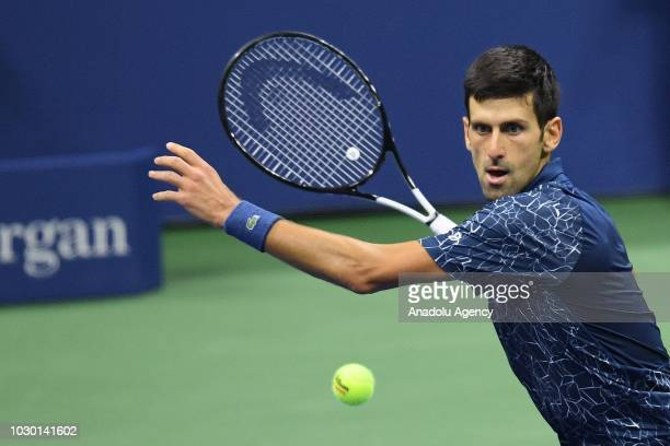Novak Djokovic of Serbia competes against Juan Martin Del Potro of Argentina during US Open 2018 men's final match in New York, United States on...
