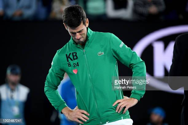Novak Djokovic of Serbia cries while talking about the death of Kobe Bryant after winning his Men's Singles Quarterfinal match against Milos Raonic...