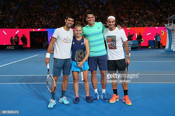 Novak Djokovic of Serbia Daria Gavrilova of Australia Milos Raonic of Canada and Roger Federer of Switzerland pose following the Rod Laver Arena...