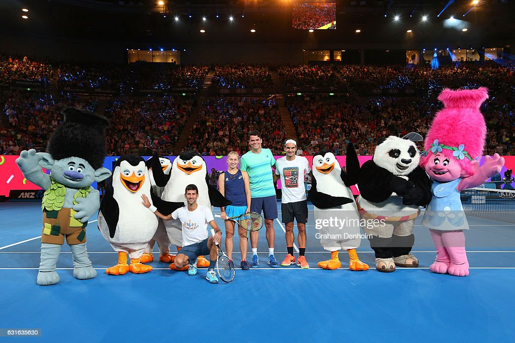 Novak Djokovic of Serbia, Daria Gavrilova of Australia, Milos Raonic of Canada and Roger Federer of Switzerland pose with DreamWorks characters following the Rod Laver Arena Spectacular as part of Kids Tennis Day ahead of the 2017 Australian Open at Melbourne Park on January 14, 2017 in Melbourne, Australia.