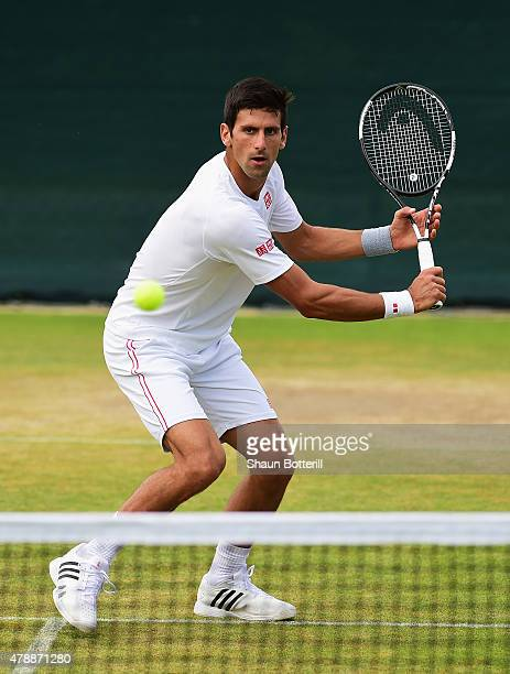 Novak Djokovic of Serbia during a pratice session prior to the Wimbledon Lawn Tennis Championships at the All England Lawn Tennis and Croquet Club at...