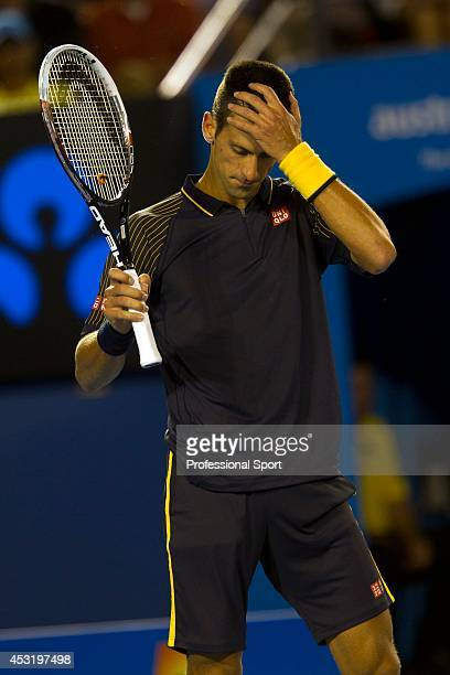 Novak Djokovic of Serbia during his fourth round match against Stanislas Wawrinka of Switzerland on day seven of the 2013 Australian Open at...