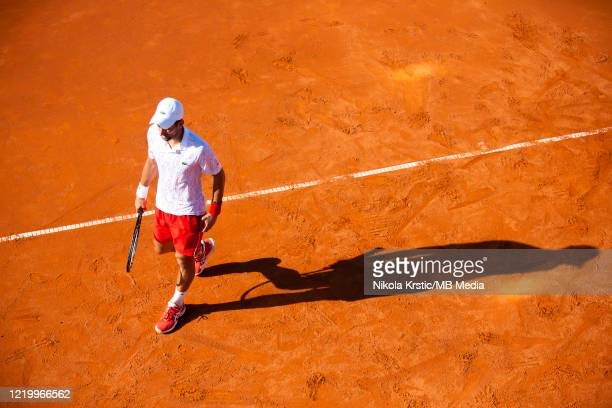 Novak Djokovic of Serbia during his match against Alexander Zverev of Germany on June 14 during the 3rd day of Summer Adria Tour 2020 in Belgrade...