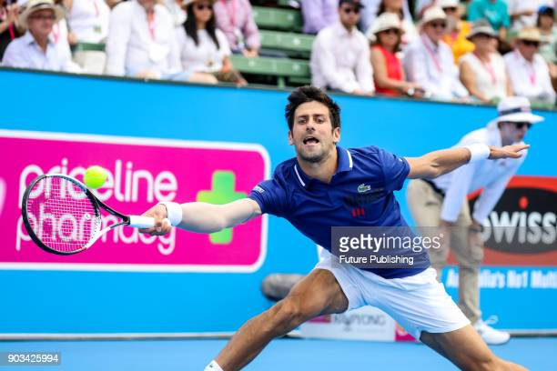 Novak Djokovic of Serbia during his match against Dominic Thiem of Austria at Kooyong Classic tennis tournament on January 10 2018 in Melbourne...