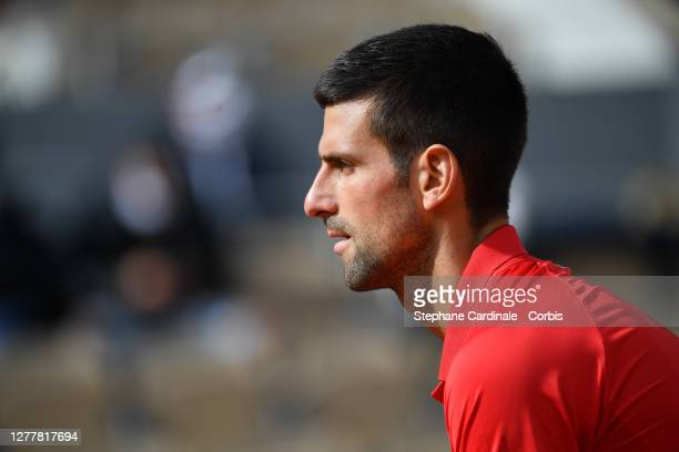Novak Djokovic of Serbia during his Men's Singles second round match against Ricardas Berankis of Lithuania on day five of the 2020 French Open at...