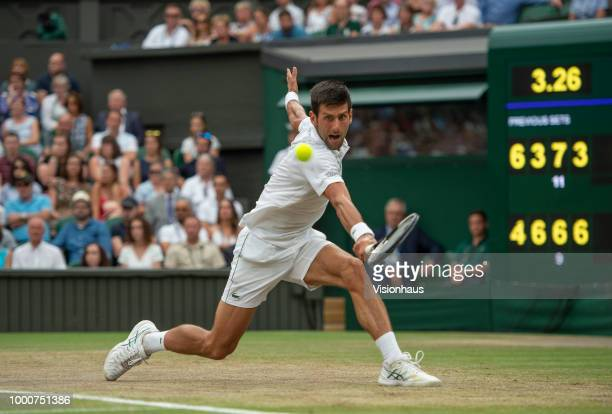 Novak Djokovic of Serbia during his semifinal match against Rafael Nadal of Spain on day twelve of the Wimbledon Lawn Tennis Championships at the All...