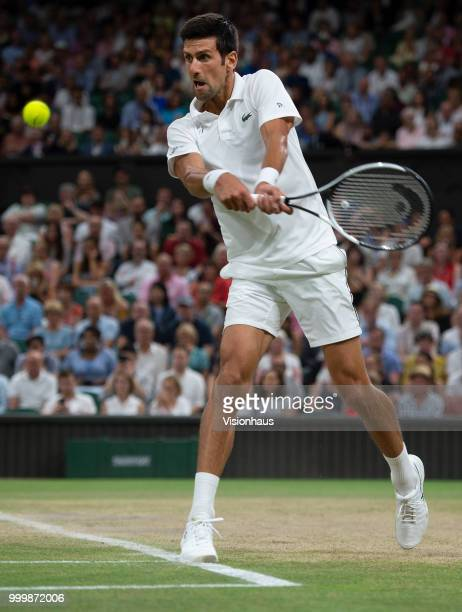 Novak Djokovic of Serbia during his semifinal match against Rafael Nadal of Spain on day eleven of the Wimbledon Lawn Tennis Championships at the All...