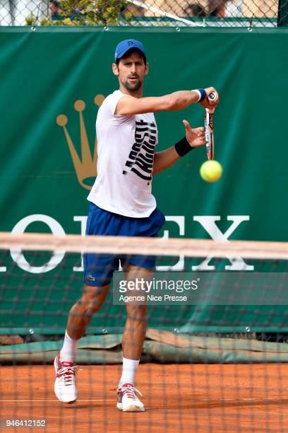 Novak Djokovic of Serbia during the Masters 1000 Monte Carlo training session at Monte Carlo on April 14 2018 in Monaco Monaco