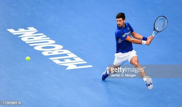Novak Djokovic of Serbia during the Men's Singles Final match between Novak Djokovic of Serbia and Rafael Nadal of Spain during day 14 of the 2019...