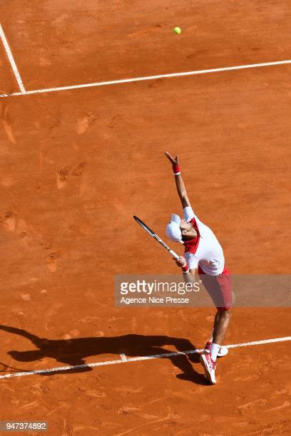 Novak Djokovic of Serbia during the Monte Carlo Rolex Masters 1000 at Monte Carlo on April 16 2018 in Monaco Monaco
