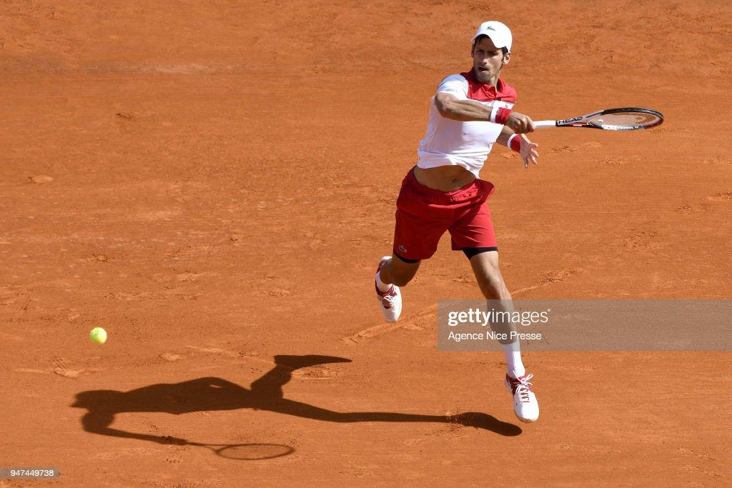 Novak Djokovic of Serbia during the Monte Carlo Rolex Masters 1000 at Monte Carlo on April 16, 2018 in Monaco, Monaco.