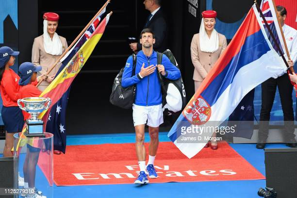 Novak Djokovic of Serbia entering match against Rafael Nadal of Spain during day 14 of the 2019 Australian Open at Melbourne Park on January 27 2019...