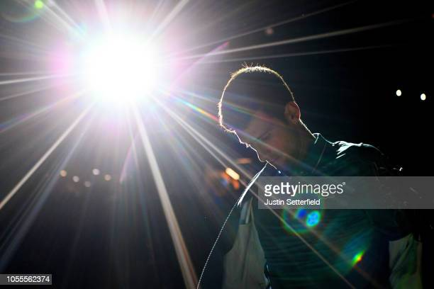 Novak Djokovic of Serbia enters the arena for his second round match against Joao Sousa of Portugal during Day 2 of the Rolex Paris Masters on...