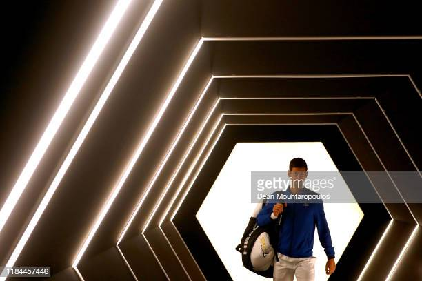 Novak Djokovic of Serbia enters the court to play his match against Corentin Moutet of France on day 3 of the Rolex Paris Masters, part of the ATP...
