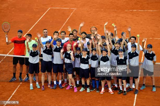 Novak Djokovic of Serbia Filip Krajinovic of Serbia Alexander Zverev of Germany Grigor Dimitrov of Bulgaria Dominic Thiem of Austria and other...