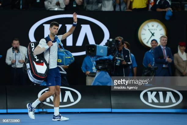 Novak Djokovic of Serbia gestures during his match against Hyeon Chung of South Korea on day eight of the 2018 Australian Open at Melbourne Park on...