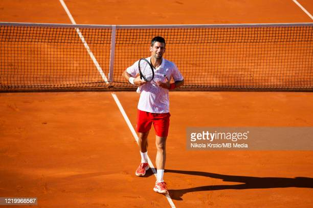 Novak Djokovic of Serbia gestures to the fans after his match against Alexander Zverev of Germany on June 14 during the 3rd day of Summer Adria Tour...
