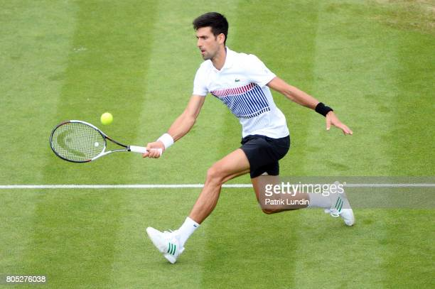 Novak Djokovic of Serbia hits a forehand during the Final match against Gael Monfils of France on day seven on July 1, 2017 in Eastbourne, England.