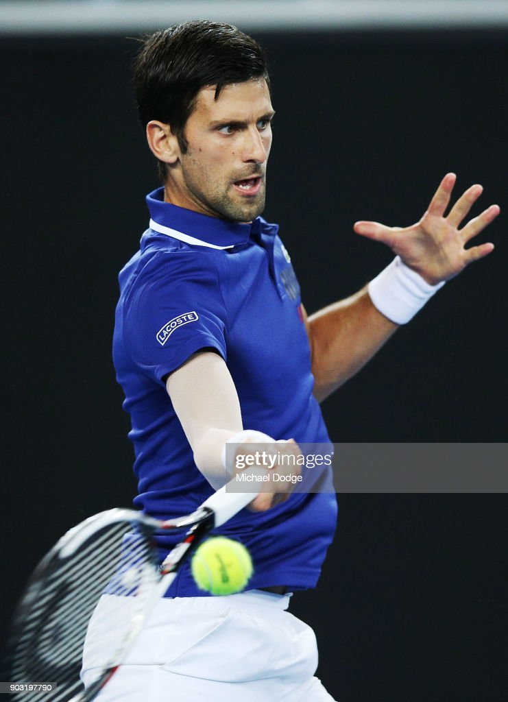 Novak Djokovic of Serbia hits a forehand during the Tie Break Tens ahead of the 2018 Australian Open at Margaret Court Arena on January 10, 2018 in Melbourne, Australia.