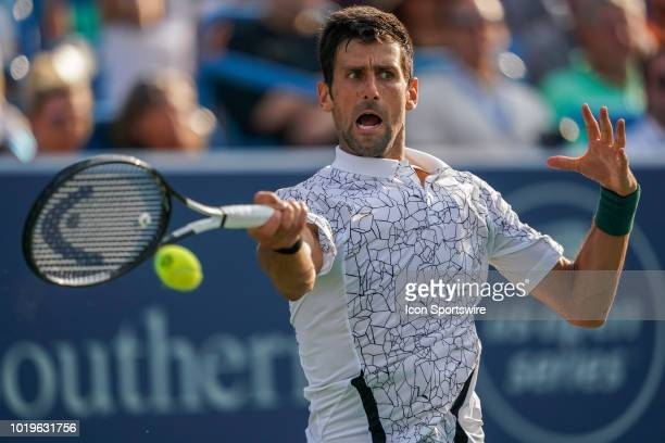 Novak Djokovic of Serbia hits a forehand shot during the Western Southern Open singles final at the Lindner Family Tennis Center in Mason Ohio on...