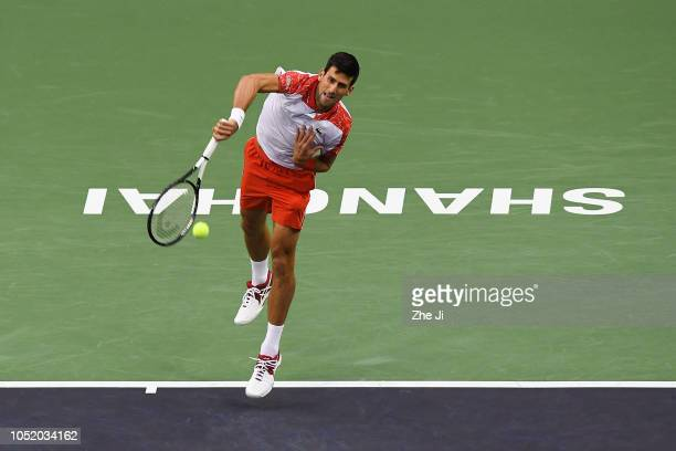 Novak Djokovic of Serbia hits a return against Alexander Zverev of Germany during their Singles Semifinals match of the 2018 Rolex Shanghai Masters...