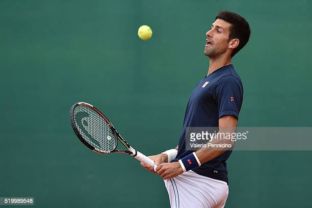Novak Djokovic of Serbia in a practice session during the preview day of the ATP Monte Carlo Masters at the MonteCarlo Country Club on April 9 2016...