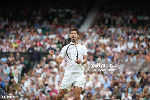 Novak Djokovic of Serbia in action against Adrian Mannarino of France in the Gentlemen's Singles round of sixteen at the Wimbledon Lawn Tennis...